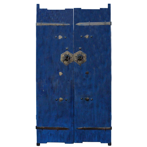 Chinese Dark Blue Gloss Lacquer Vintage Iron Hardware Door Gate Wall Panel cs4466S