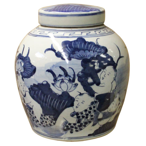 Chinese Handmade Medium Blue & White Porcelain Ginger Jar cs4500S