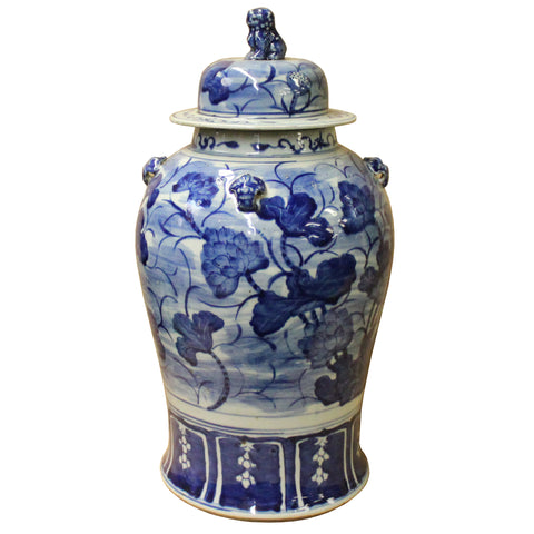 Chinese Blue & White Lotus Flower Porcelain Large Temple General Jar cs4504S
