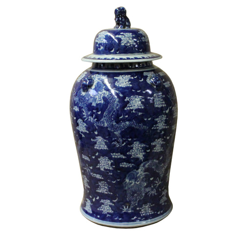 Chinese Blue & White Cloud Dragons Porcelain Large Temple General Jar cs4506S