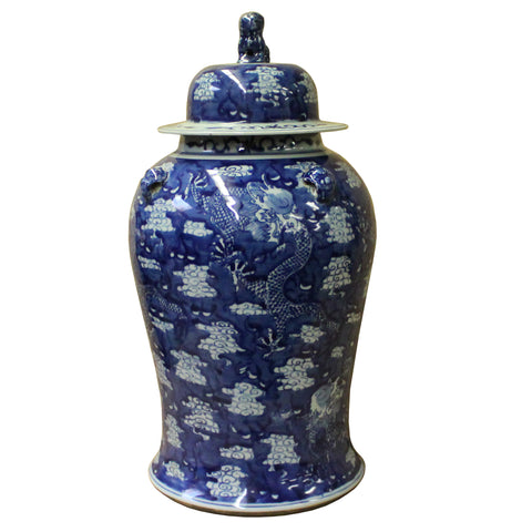 Chinese Blue & White Cloud Dragons Porcelain Large Temple General Jar cs4507S