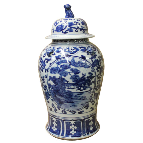 Chinese Blue & White Scenery Porcelain Large Temple General Jar cs4509S