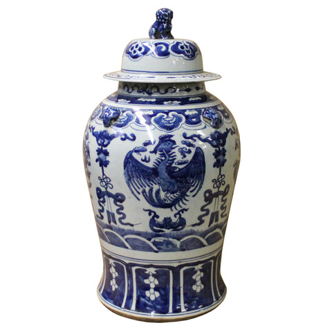 Chinese Blue & White Scenery Porcelain Large Temple General Jar cs4510S