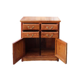 Chinese Brown Huali Rosewood 4 Drawers Side Table Cabinet cs4520S