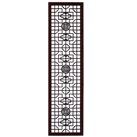 Chinese Medium Brown Geometric Pattern Accent Tall Floor Panel cs4524S