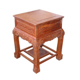 Chinese Oriental Huali Rosewood Foo Dogs Motif Tea Table Stand cs4529S