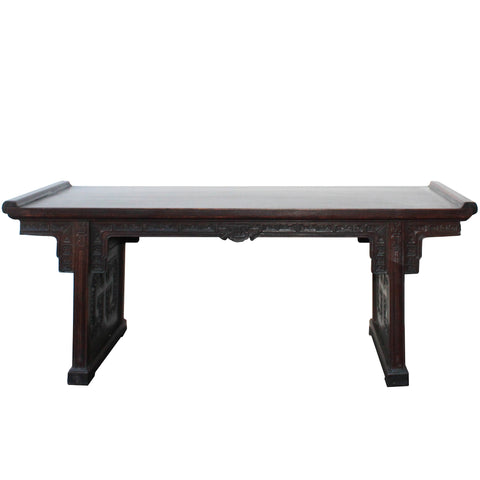 Brown Rosewood Oriental Ru Yi Carving Rectangular Display Table Stand cs4530S