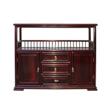 Chinese Brown Rosewood Credenza Console Side Table Cabinet cs4533S
