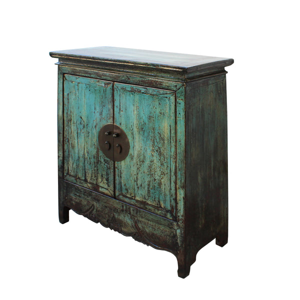 Chinese Distressed Rustic Blue Teal Turquoise Foyer