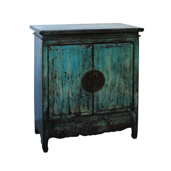 Chinese Distressed Rustic Blue Teal Turquoise Foyer Console Table Cabi Golden Lotus Antiques