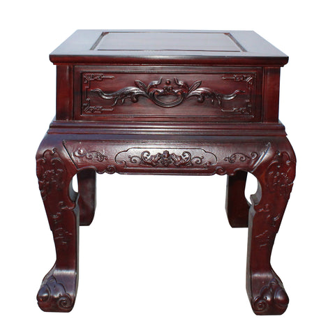 thick rosewood end table - side table