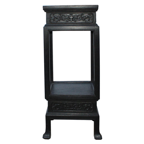 Chinese Huali Dark Brown Square Carving Plant Stand Pedestal Table cs4537S