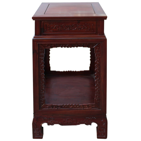 Chinese Akume Wood Brown Square Carving Plant Stand Pedestal Table cs4538S