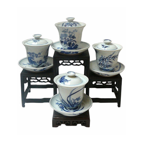 Set of 4 Chinese Seasons Blue & White Porcelain Teacup