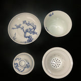 Set of 4 Chinese Seasons Blue & White Porcelain Teacup cs453S