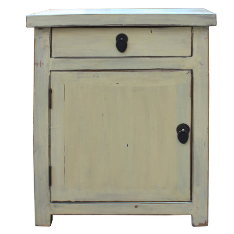 Chinese Oriental Distressed Cream Off White End Table Nightstand cs4543S