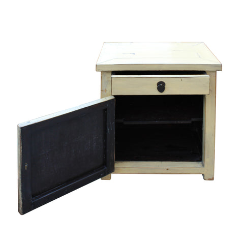 Chinese Oriental Distressed Cream Off White End Table Nightstand