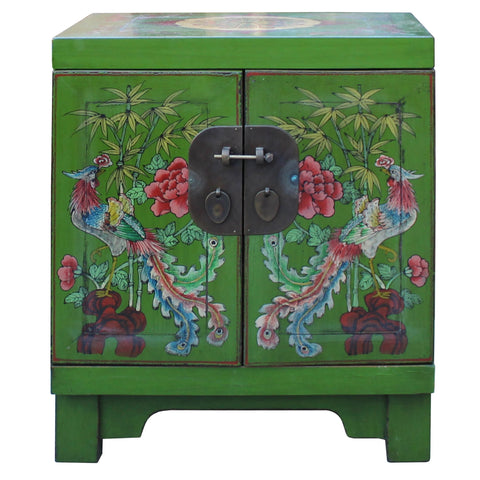 green bird flower end table - nightstand