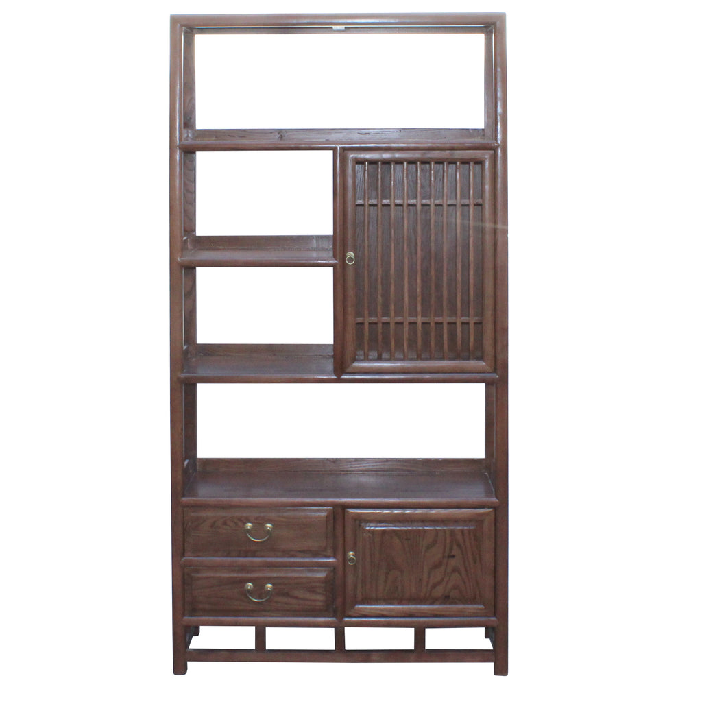 Chinese Elm Wood Brown Open Display Bookcase Cabinet Cs4546s