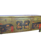 Chinese Distressed Light Olive Green Flower Graphic TV Console Cabinet cs4549S