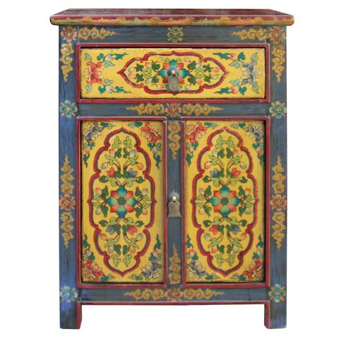 Tibetan Oriental Black Yellow Floral End Table Nightstand cs4554S