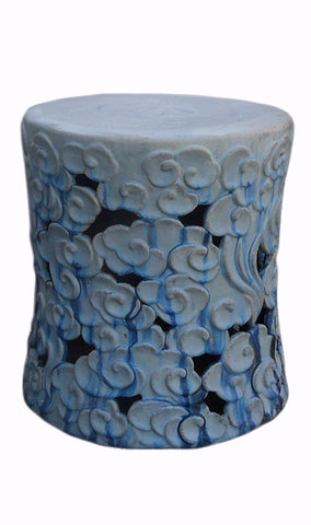 Chinese White Blue Cloud Scoll Ceramic Round Garden Stool cs456-2S