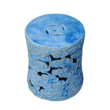 Ceramic Clay Light Blue Glaze Round Scroll Pattern Garden Stool cs456-5S