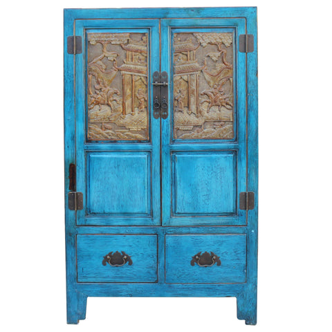 Chinese Distressed Bright Blue Golden Brown Carving Storage Cabinet cs4561S