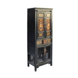 Chinese Black Golden Carving Narrow Wood Storage Wardrobe Hutch Cabinet cs4563S