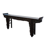 Chinese Vintage Dark Brown Dragon Carving Long Altar Console Table cs4567S