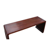 Oriental Chinese Huali Rosewood Brown Scroll Leg Kang Coffee Table cs4572S