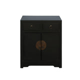 Black Lacquer Moonface End Table Nightstand Cabinet cs4575S