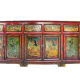 Chinese Distressed Red Graphic Long Sideboard Console Table Cabinet cs4581S