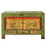 Chinese Distressed Green Flower Graphic Credenza Console Cabinet cs4587S