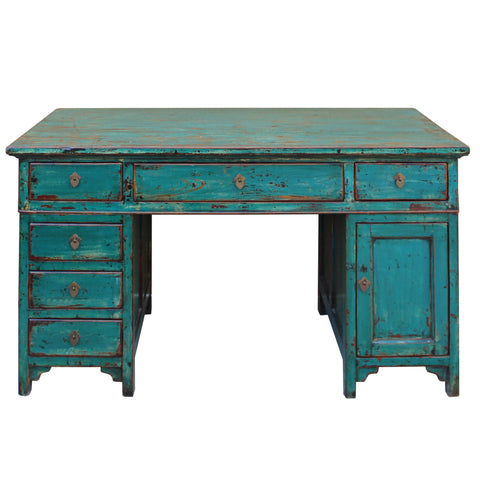 Chinese Distressed Blue 3 Pieces Editor Writing Desk cs4591S