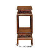 Chinese Brown Huali Rosewood Square Carving Plant Stand Pedestal Table cs4600S