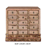 Chinese Distressed Mauve Beige 15 Drawers Medicine Apothecary Cabinet cs4602S