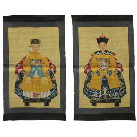 Pair Chinese Small Canvas Color Ink Royal Lady Gentleman Ancestor Paint Art cs4605S