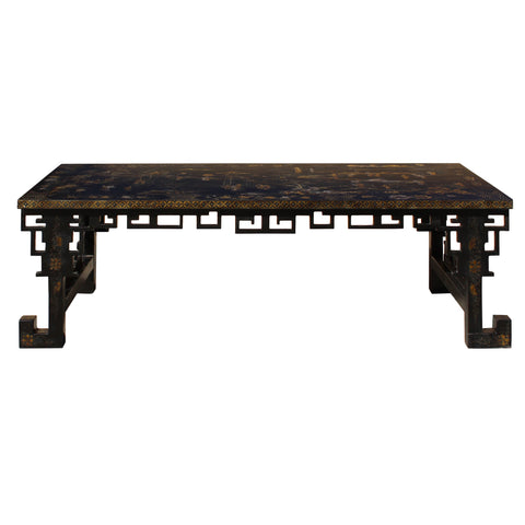 square black lacquer painting table