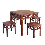 Chinese Brown Huali Rosewood Square Table Chair 5 Pieces Set cs4636S