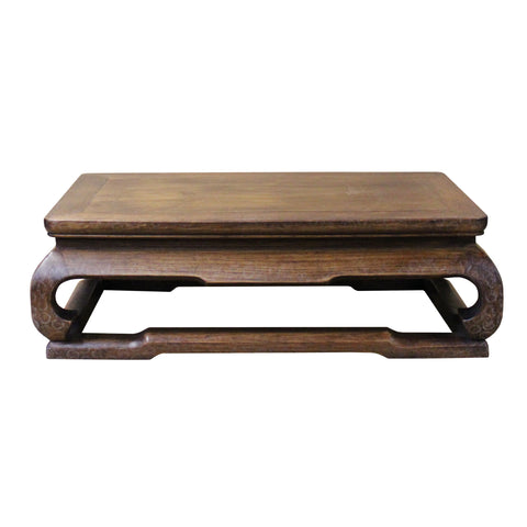 Chinese Brown Grain Patina Rectangular Wood Stand Display cs4640S