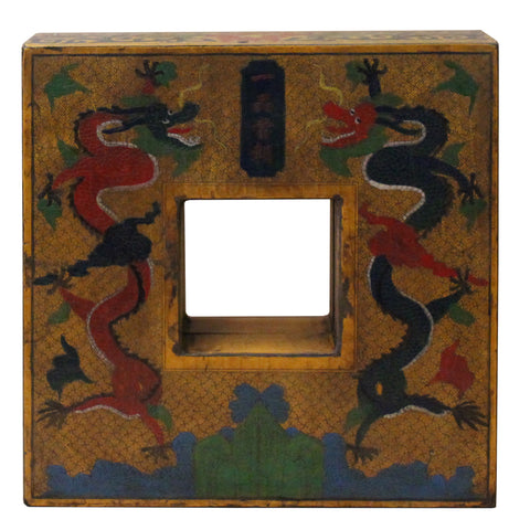 Chinese Distressed Yellow Dragon Graphic Square Shape Box cs4642S