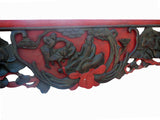 Asian vintage red color craved wall panel