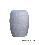 White Porcelain Square Pattern Round Stool cs465-1S