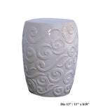 White Porcelain Scroll Pattern Round Stool cs465-3S