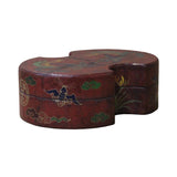 Chinese Distressed Brown Lacquer Oval Phoenix Graphic Box cs4670S