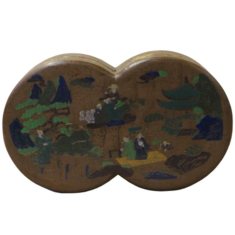 Chinese Light Brown Lacquer Double Round Scenery Painting Box cs4671S