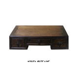 Chinese Brown Wood Rectangular Table Top Stand Display Easel cs4674S