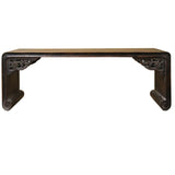 Brown Rosewood Oriental Ru Yi Carving Rectangular Display Table Stand cs4684S