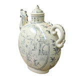 Chinese Oriental Ceramic Cream White Outline Graphic Bird Head Jar